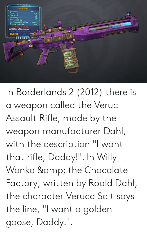 "Fire, Willy Wonka, and Chocolate: LEVEL REQUIREMENT: 50  Feral Veruc  Damage  Accuracy  Fire Rate  Reload Speed  Magazine Size  Electrocute Dmg/Sec  Chance to shock  6071x3  78.0  6.6  2.8  39  3605.9  6.0%  I want that rifle, Daddy!  Burst fire while zoomed  Highly effective us Shields  DAHL  S191.55 4  DAHL In Borderlands 2 (2012) there is a weapon called the Veruc Assault Rifle, made by the weapon manufacturer Dahl, with the description ""I want that rifle, Daddy!"". In Willy Wonka & the Chocolate Factory, written by Roald Dahl, the character Veruca Salt says the line, ""I want a golden goose, Daddy!""."