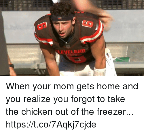 Football, Nfl, and Sports: LEVELAND When your mom gets home and you realize you forgot to take the chicken out of the freezer... https://t.co/7Aqkj7cjde
