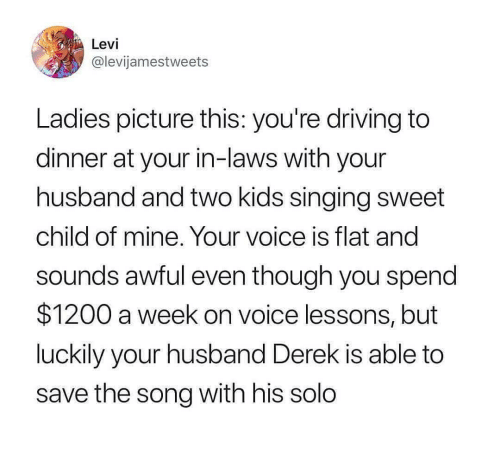 Driving, Singing, and Kids: Levi  @levijamestweets  Ladies picture this: you're driving to  dinner at your in-laws with your  husband and two kids singing sweet  child of mine. Your voice is flat and  sounds awful even though you spend  $1200 a week on voice lessons, but  luckily your husband Derek is able to  save the song with his solo