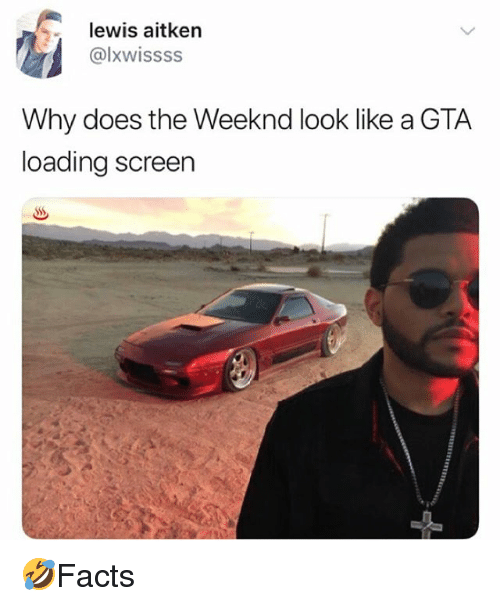Memes, The Weeknd, and 🤖: lewis aitken  @lxwissss  Why does the Weeknd look like a GTA  loading screen 🤣Facts