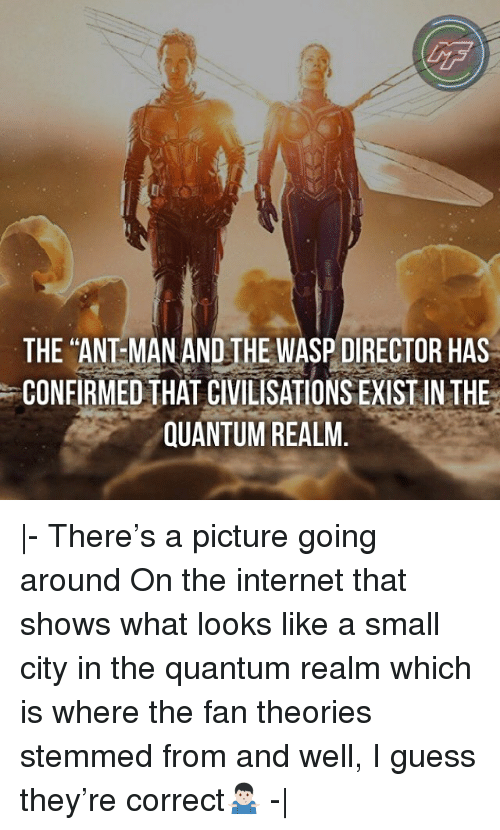 """Internet, Memes, and Guess: LF  THE """"ANT MAN AND THE WASP DIRECTOR HAS  CONFIRMED THAT CIVILISATIONS EXIST IN THE  QUANTUM REALM.  - There's a picture going around On the internet that shows what looks like a small city in the quantum realm which is where the fan theories stemmed from and well, I guess they're correct🤷🏻♂️ - """