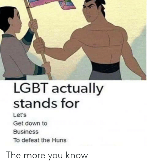 Lgbt, The More You Know, and Business: LGBT actually  stands for  Let's  Get down to  Business  To defeat the Huns The more you know