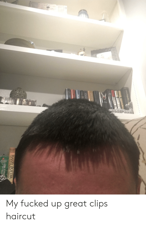 Haircut, Harry Potter, and Potter: lgedin  SHRUDW PU  CAAI UNANARE  KNIF  HARRY POTTER  AND THE CURSED CHILD  The Comp  1 Seas  is YE My fucked up great clips haircut