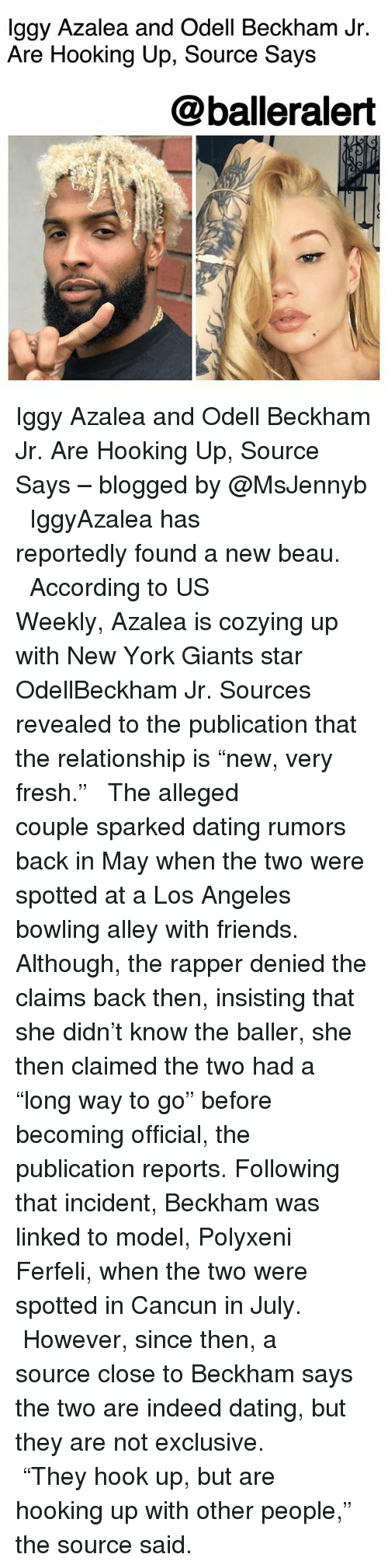 "Dating, Fresh, and Friends: lggy Azalea and Odell Beckham Jr.  Are Hooking Up, Source Says  @balleralert Iggy Azalea and Odell Beckham Jr. Are Hooking Up, Source Says – blogged by @MsJennyb ⠀⠀⠀⠀⠀⠀⠀ ⠀⠀⠀⠀⠀⠀⠀ IggyAzalea has reportedly found a new beau. ⠀⠀⠀⠀⠀⠀⠀ ⠀⠀⠀⠀⠀⠀⠀ According to US Weekly, Azalea is cozying up with New York Giants star OdellBeckham Jr. Sources revealed to the publication that the relationship is ""new, very fresh."" ⠀⠀⠀⠀⠀⠀⠀ ⠀⠀⠀⠀⠀⠀⠀ The alleged couple sparked dating rumors back in May when the two were spotted at a Los Angeles bowling alley with friends. Although, the rapper denied the claims back then, insisting that she didn't know the baller, she then claimed the two had a ""long way to go"" before becoming official, the publication reports. Following that incident, Beckham was linked to model, Polyxeni Ferfeli, when the two were spotted in Cancun in July. ⠀⠀⠀⠀⠀⠀⠀ ⠀⠀⠀⠀⠀⠀⠀ However, since then, a source close to Beckham says the two are indeed dating, but they are not exclusive. ⠀⠀⠀⠀⠀⠀⠀ ⠀⠀⠀⠀⠀⠀⠀ ""They hook up, but are hooking up with other people,"" the source said."