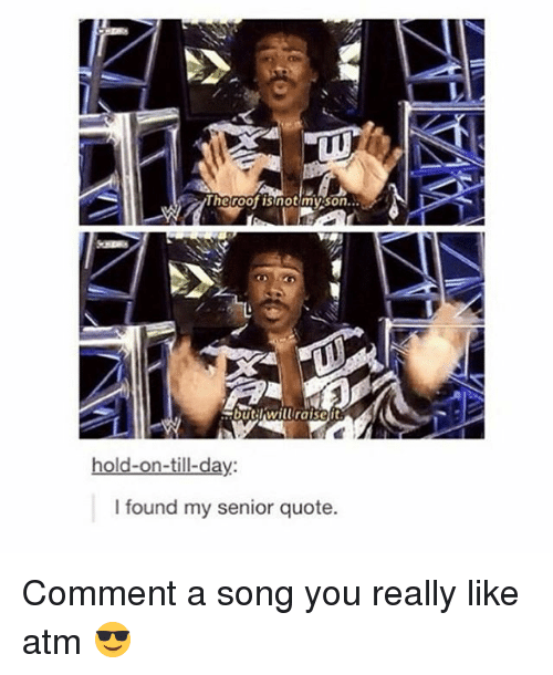 Memes, A Song, and 🤖: lhe roof isinot my son..  rbutrwiluraisett  I found my senior quote. Comment a song you really like atm 😎