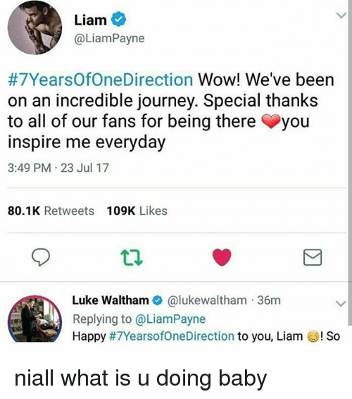 Journey, Memes, and Wow: Liam  @LiamPayne  #7YearsOfOneDirection Wow! We've been  on an incredible journey. Special thanks  to all of our fans for being there you  inspire me everyday  3:49 PM . 23 Jul 17  80.1K Retweets 109K Likes  Luke Waltham@lukewaltham 36m  Replying to @LiamPayne  Happy #7YearsofoneDi rection to you, Liam UIS。 niall what is u doing baby