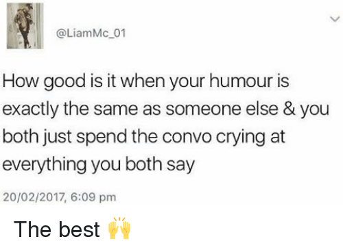 Crying, Memes, and Best: @Liam Mc 01  How good is it when your humour is  exactly the same as someone else & you  both just spend the convo crying at  everything you both say  20/02/2017, 6:09 pm The best 🙌