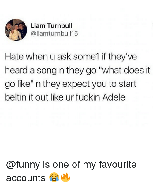 "Adele, Funny, and Memes: Liam Turnbull  @liamturnbull15  Hate when u ask some1 if they've  heard a song n they go ""what does it  go like"" n they expect you to start  beltin it out like ur fuckin Adele @funny is one of my favourite accounts 😂🔥"