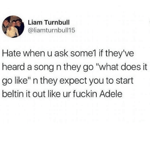 "Adele, What Does, and A Song: Liam Turnbull  @liamturnbull15  Hate when u ask some1 if they've  heard a song n they go ""what does it  go like"" n they expect you to start  beltin it out like ur fuckin Adele"