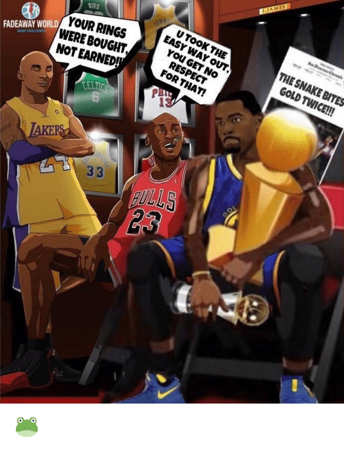 Nba, Respect, and Snake: LIAMES  BIRD  U TOOK  YOUR RINGSEASYHE  WERE BOUGHT  NOT EARNED  THE SNAKE BITES  GOLD TWICE!!!  YOU GET NO  RESPECT  FOR THAT!  FADEAWAY WORLD  CELT  0 🐸