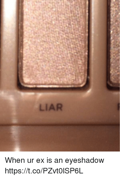 Funny, Awkward, and Liar: LIAR When ur ex is an eyeshadow https://t.co/PZvt0lSP6L