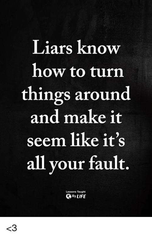 Liars Know How To Turn Things Around And Make It Seem Like It S All Vour Fault Lessons Taught Bylife 3 Meme On Me Me