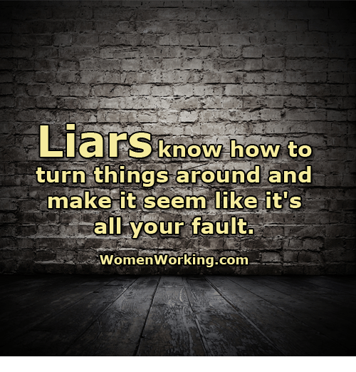 Memes, 🤖, and Liar: Liars know how to  turn things around and  make it seem like it's  all your fault.  Women Working.com