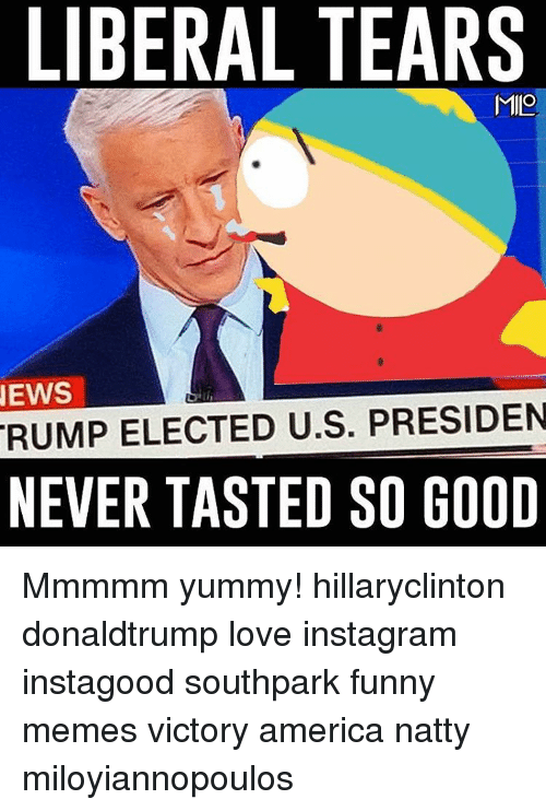 Memes, Victorious, and Yummy: LIBERAL TEARS  MILO  NEWS  RUMP ELECTED U.S. PRESIDEN  NEVER TASTED SO GOOD Mmmmm yummy! hillaryclinton donaldtrump love instagram instagood southpark funny memes victory america natty miloyiannopoulos