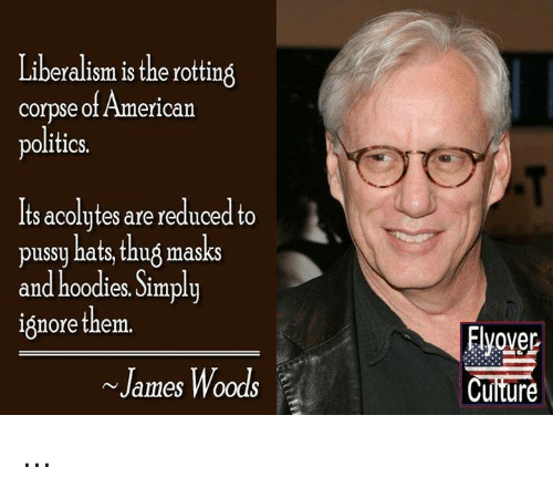 Memes, Politics, and Pussy: Liberalism isthe rotting  corpse of American  politics.  Its acolytes are reduced to  pussy hats, thug masks  and hoodies. Jimpliy  ignorethem.  Elyover  v James Woods ...