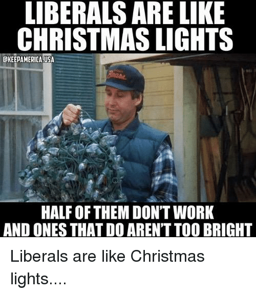 Half Of Christmas Lights Dont Work.Liberals Are Like Christmas Lights Half Of Them Don T Work