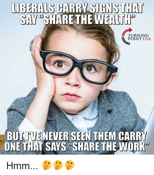 """Memes, Never, and 🤖: LIBERALS CARRY SIGNS THAT  SAY """"SHARE THE WEALTt  URNTNSA  POINT USA  BUT TUE NEVER SEEN THEM CARRY  ONETHAT SAYS SHARE THEWORK Hmm... 🤔🤔🤔"""