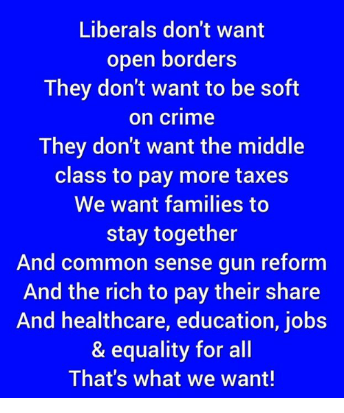 Crime, Taxes, and Common: Liberals don't want  pen borders  They don't want to be soft  on crime  They don't want the middle  class to pay more taxes  We want families to  stay together  And common sense gun reform  And the rich to pay their share  And healthcare, education, jobs  & equality for all  That's what we want!