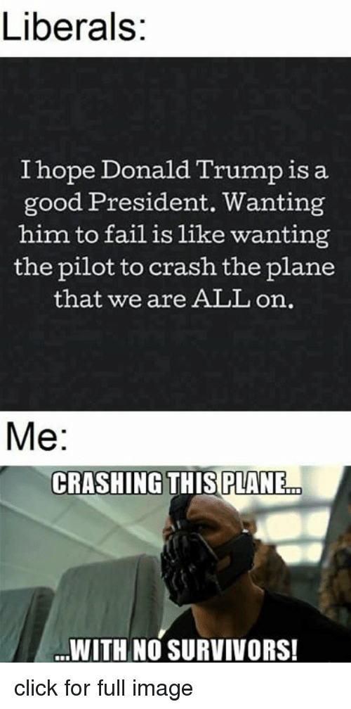 liberals i hope donald trump is a good president wanting 12174587 ✅ 25 best memes about crashing this plane crashing this plane,Good Plane Memes