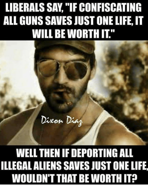 """Guns, Life, and Memes: LIBERALS SAY, """"IF CONFISCATING  ALL GUNS SAVES JUST ONE LIFE,IT  WILL BE WORTH IT""""  Dixon Dis  WELL THEN IF DEPORTING ALL  ILLEGAL ALIENS SAVES JUST ONE LIFE  WOULDN'T THAT BE WORTH IT?"""