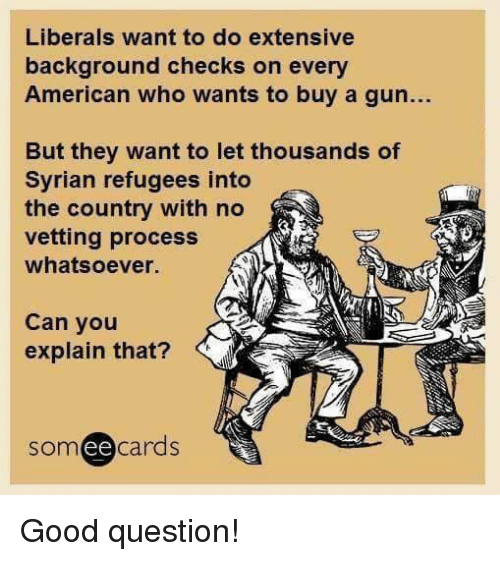 Memes, American, and Good: Liberals want to do extensive  background checks on every  American who wants to buy a gun...  But they want to let thousands of  Syrian refugees into  the country with no  vetting process  whatsoever.  Can you  explain that?  someecards Good question!