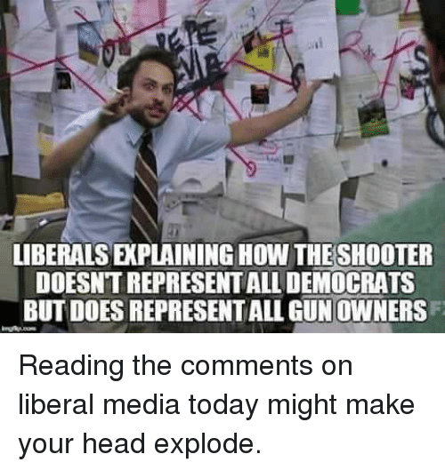 Head, Memes, and Today: LIBERALSEPLAINING HOW THESHOOTER  DOESNTREPRESENTALLDEMOCRATS  BUTDOESREPRESENTALLGUNOWNERS Reading the comments on liberal media today might make your head explode.