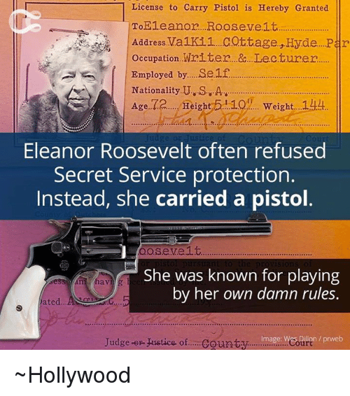 Memes, Justice, and Eleanor Roosevelt: License to Carry Pistol is Hereby Granted To