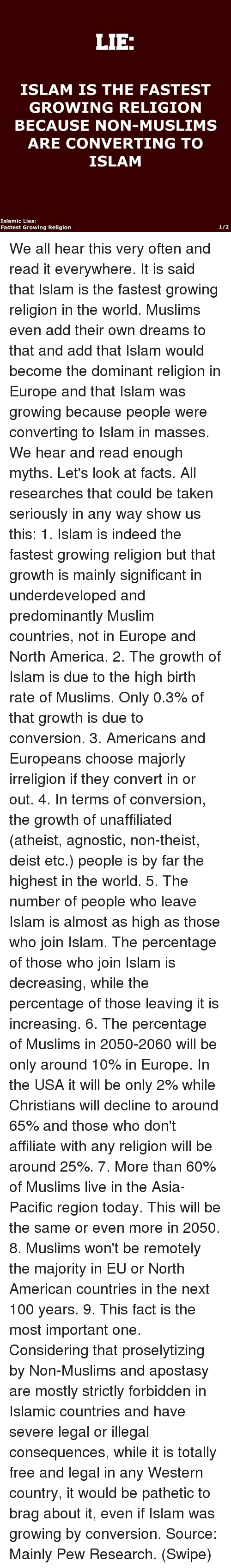 LIE ISLAM IS THE FASTEST GROWING RELIGION BECAUSE NONMUSLIMS ARE - The fastest growing religion