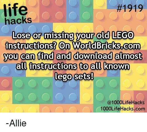 Life 1919 Lose Or Missing Your Old Lego Instructions On