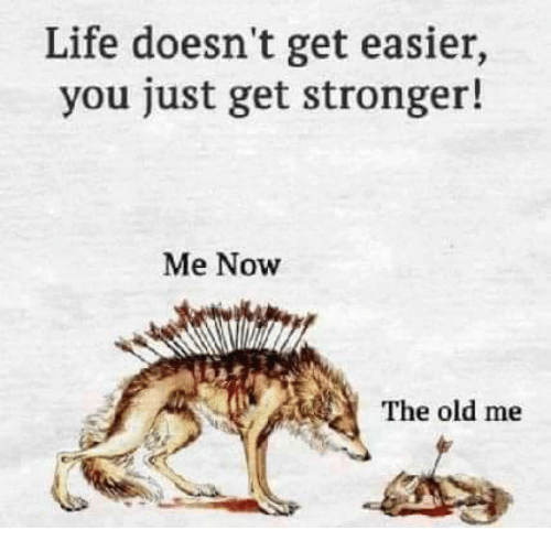 life doesn t get easier you just get stronger me now the old me