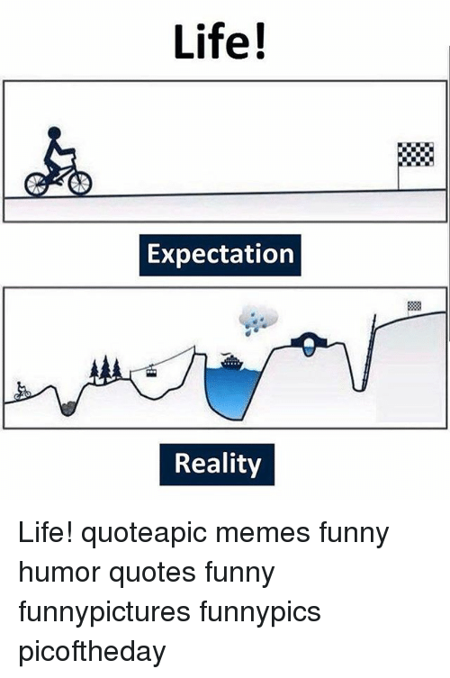 Life Expectation Reality Life Quoteapic Memes Funny Humor Quotes