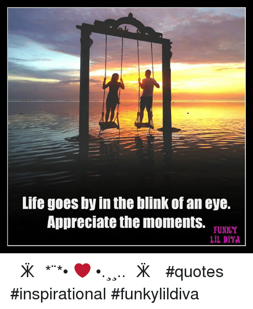 Life Goes By In The Blink Of An Eye Appreciate The Moments Funky Lil