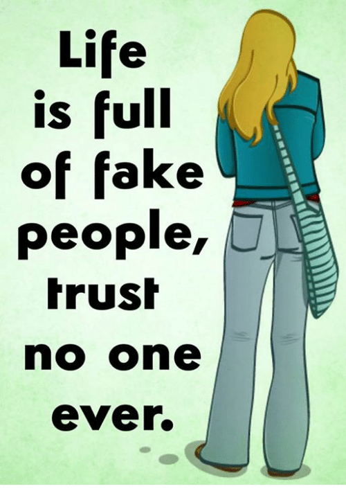 Life Is Full Of Fake People Trush No One Ever Fake Meme On Meme