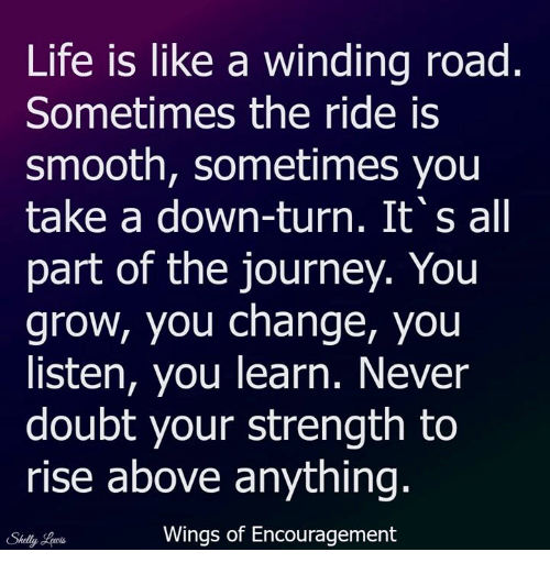Journey, Life, and Memes: Life is like a winding road  Sometimes the ride is  smooth, sometimes you  take a down-turn. It's all  part of the journey. You  grow, you change, you  listen, you learn. Never  doubt your strength to  rise above anything  Wings of Encouragement