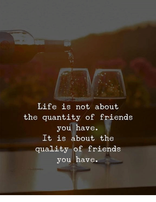 Friends, Life, and You: Life is not about  the quantity of friends  you have.  It is about the  quality of friends  you have