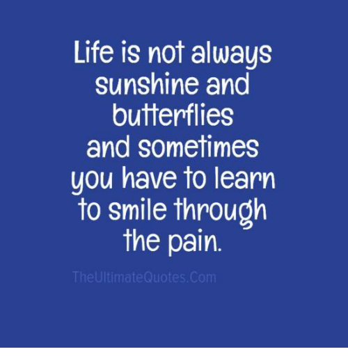 Life Is Not Always Sunshine And Butterflies And Sometimes You Have