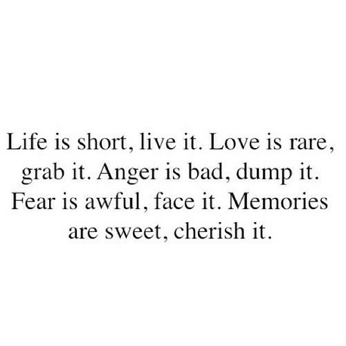 Bad, Life, and Love: Life is short, live it. Love is rare  grab it. Anger is bad, dump it.  Fear is awful, face it. Memories  are sweet, cherish it