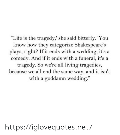 "Life, Wedding, and Comedy: ""Life is the tragedy,' she said bitterly. 'You  know how they categorize Shakespeare's  plays, right? If it ends with a wedding, it'sa  comedy. And if it ends with a funeral, it's a  tragedy. So we're all living tragedies,  because we all end the same way, and it isn't  with a goddamn wedding. https://iglovequotes.net/"