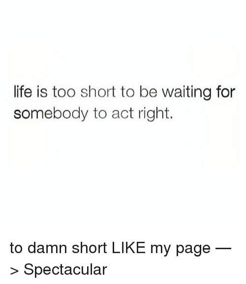 Life Is Too Short To Be Waiting For Somebody To Act Right To Damn