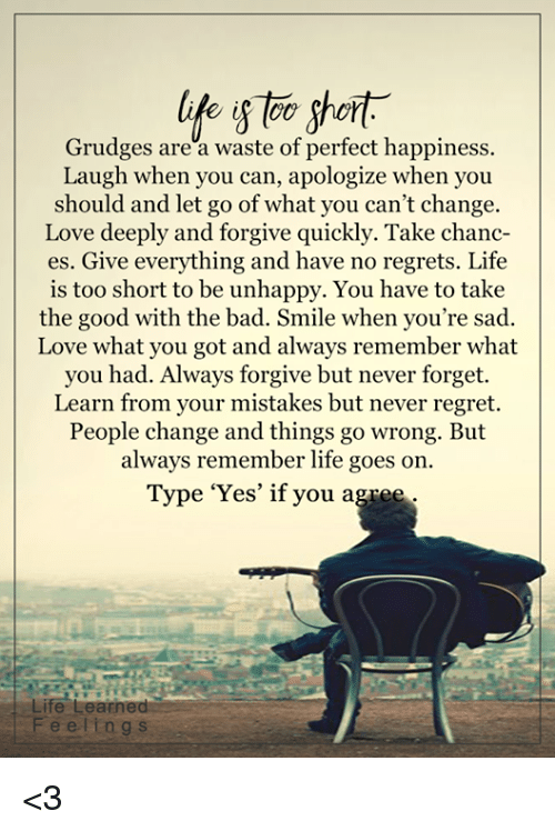 Life Short Grudges Are A Waste Of Perfect Happiness Laugh When You