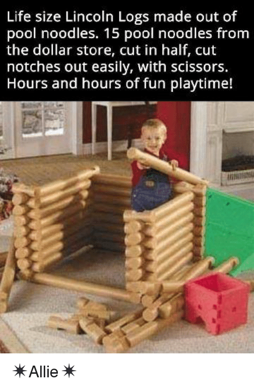 Life Size Lincoln Logs Made Out Of Pool Noodles 15 Pool