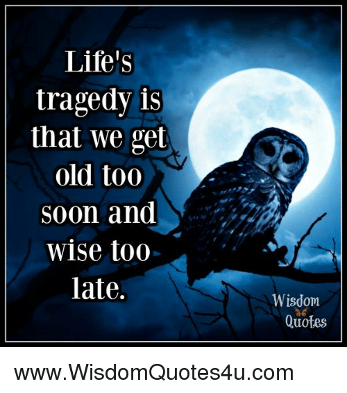 Life Tragedy Is That We Get Old Too Soon And Wise Too Late Wisdom Unique Wise Quotes On Life