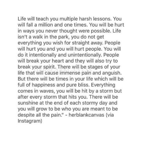 """Fall, Instagram, and Life: Life will teach you multiple harsh lessons. You  will fall a million and one times. You will be hurt  in ways you never thought were possible. Life  isn't a walk in the park, you do not get  everything you wish for straight away. People  will hurt you and you will hurt people. You will  do it intentionally and unintentionally. People  will break your heart and they will also try to  break your spirit. There will be stages of your  life that will cause immense pain and anguish.  But there will be times in your life which will be  full of happiness and pure bliss. Everything  comes in waves, you will be hit by a storm but  after every storm that hits you. There will be  sunshine at the end of each stormy day and  you will grow to be who you are meant to be  despite all the pain."""" - herblankcanvas (via  Instagram)"""