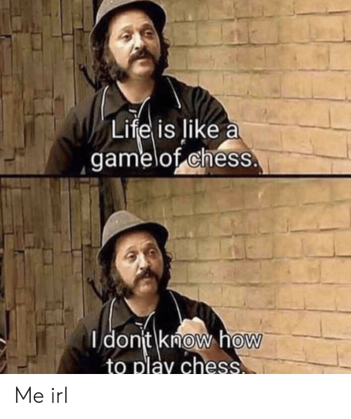 Chess, How To, and Irl: Lifel is like a  gamelof chess  dont know hoW  to play chess  0 Me irl