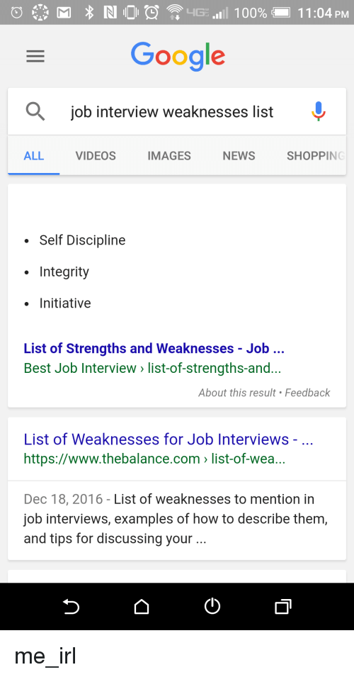 list of weaknesses for interview