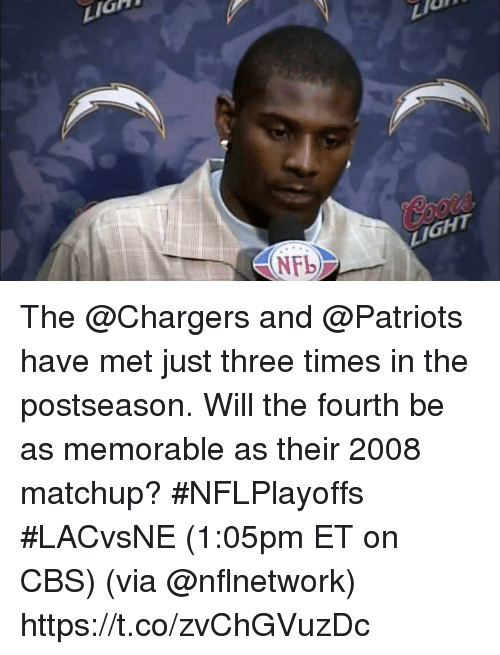 Memes, Patriotic, and Cbs: LIG  LIGHT The @Chargers and @Patriots have met just three times in the postseason.  Will the fourth be as memorable as their 2008 matchup? #NFLPlayoffs #LACvsNE (1:05pm ET on CBS) (via @nflnetwork) https://t.co/zvChGVuzDc