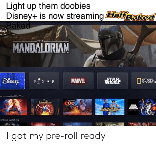 Baked, CoCo, and Disney: Light up them doobies  Disney+ is now streaming HalfBaked  Baked  IGINAL  THE  MANDALORIAN  STAR  WARS  DISNEY  NATIONAL  GEOGRAPHIC  MARVEL  P XAR  Eecommended For You  SnowWhite  COCO  STAR  WARE  MarDaked  Continue Watching I got my pre-roll ready