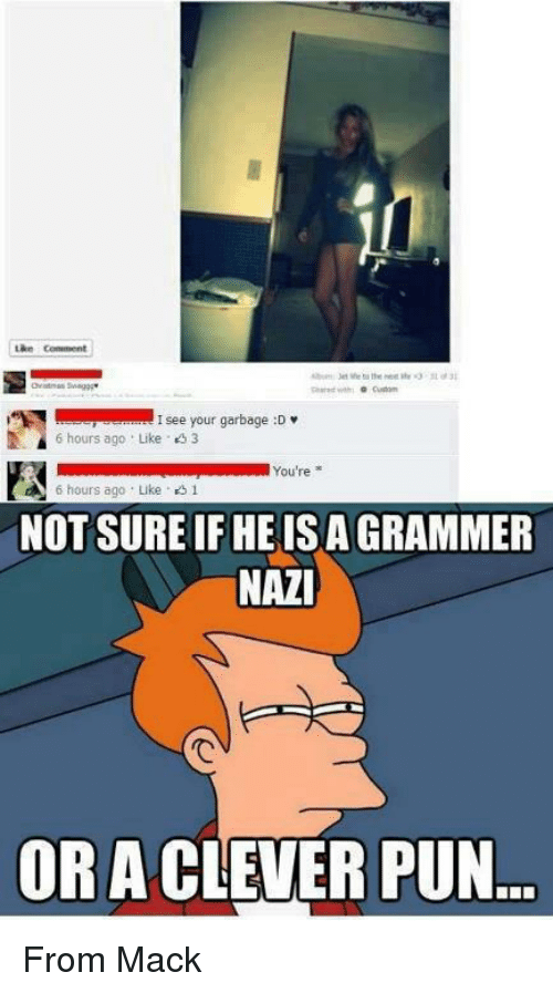 Memes, Puns, and 🤖: Like comment  Custom  I see your garbage :D  6 hours ago Like 3  You're  A 6 hours ago Luke  1  NOT SURE IFHEISAGRAMMER  NAZI  OR A CLEVER PUN From Mackϟ
