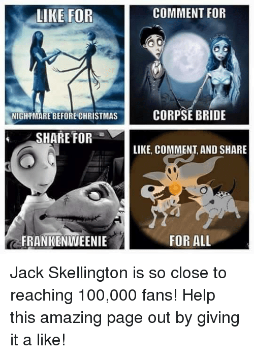 LIKE FOR NIGHTMARE BEFORE CHRISTMAS SHARE FOR FRANKENWEENIE ...