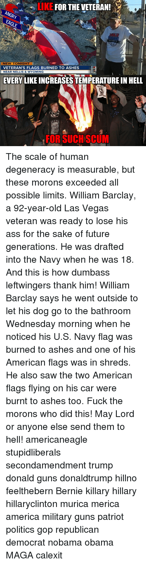 America, Ass, and Future: LIKE  FOR THE VETERAN!  ANGRy  NEW TONIGHT  VETERAN'S FLAGS BURNED TO ASHES  NEAR NELLIS & WYOMING  EVERY LIKE INCREASESTEMPERATURE IN HELL  OCI  FOR SUCH SCUM The scale of human degeneracy is measurable, but these morons exceeded all possible limits. William Barclay, a 92-year-old Las Vegas veteran was ready to lose his ass for the sake of future generations. He was drafted into the Navy when he was 18. And this is how dumbass leftwingers thank him! William Barclay says he went outside to let his dog go to the bathroom Wednesday morning when he noticed his U.S. Navy flag was burned to ashes and one of his American flags was in shreds. He also saw the two American flags flying on his car were burnt to ashes too. Fuck the morons who did this! May Lord or anyone else send them to hell! americaneagle stupidliberals secondamendment trump donald guns donaldtrump hillno feelthebern Bernie killary hillary hillaryclinton murica merica america military guns patriot politics gop republican democrat nobama obama MAGA calexit